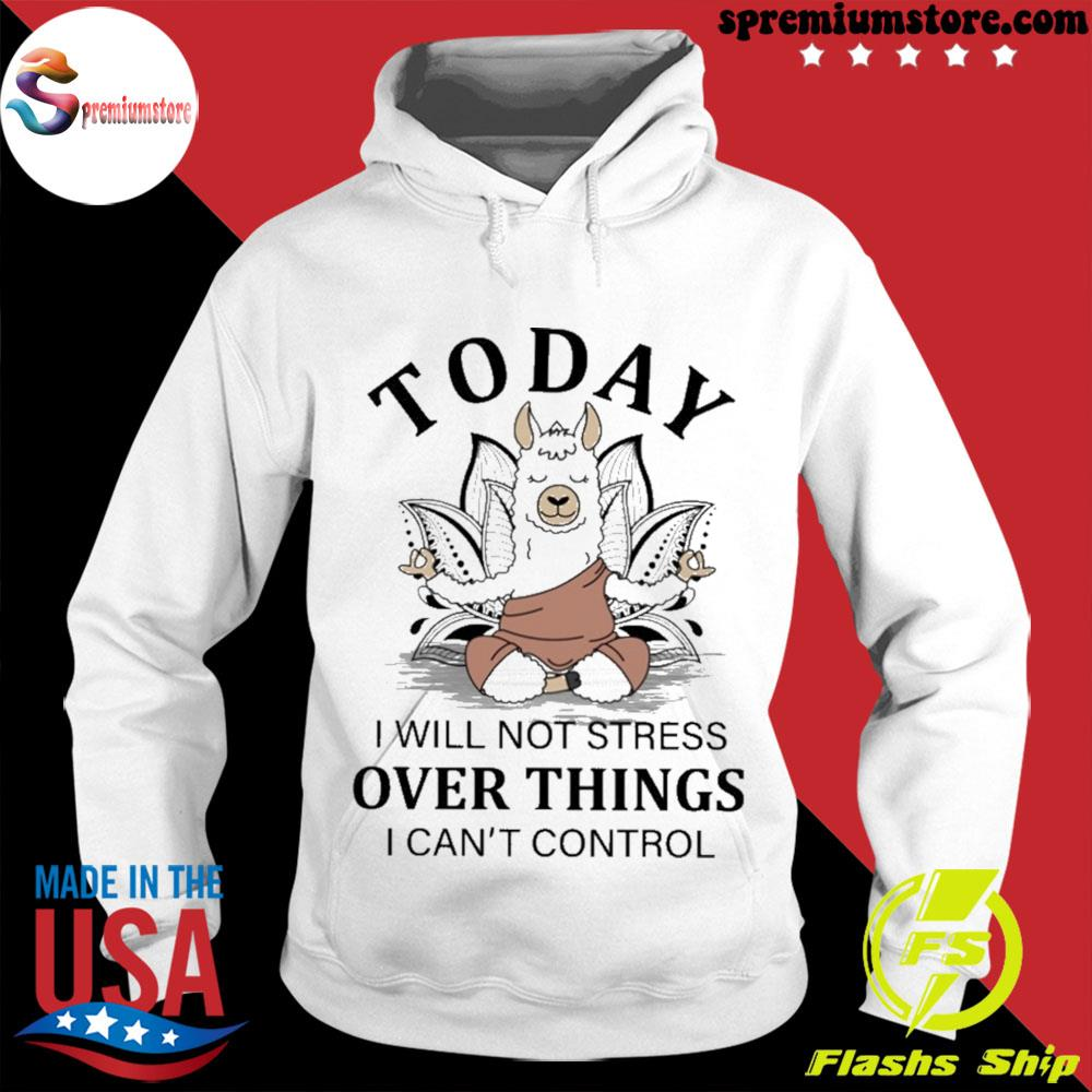 Llama Yoga to day i will not stress over things i can't control s hodie-white