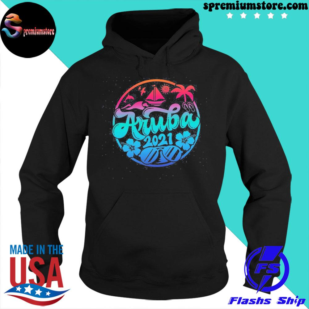 Official aruba vacation outfit caribbean apparel s hoodie-black