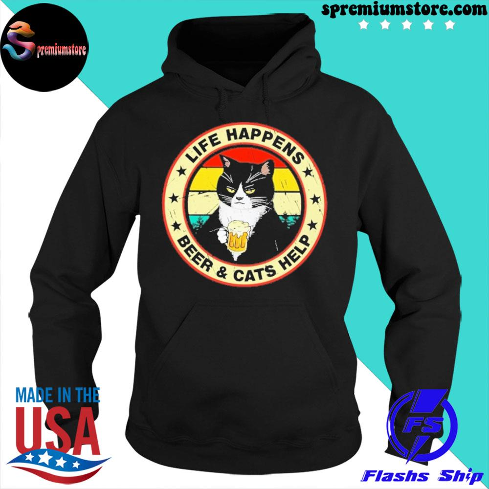 Official black cat life happens beer and cats help s hoodie-black