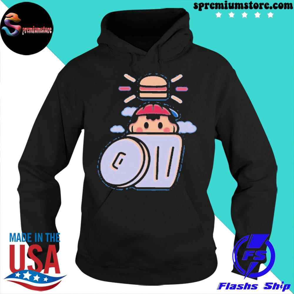 Official earthbound trashcan burger s hoodie-black