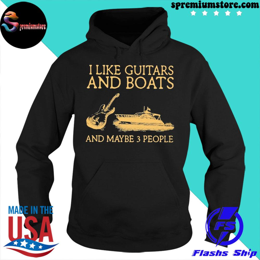 Official i like guitars and boats and maybe 3 people s hoodie-black
