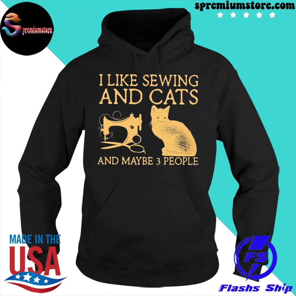 Official i like sewing and cats and maybe 3 people s hoodie-black