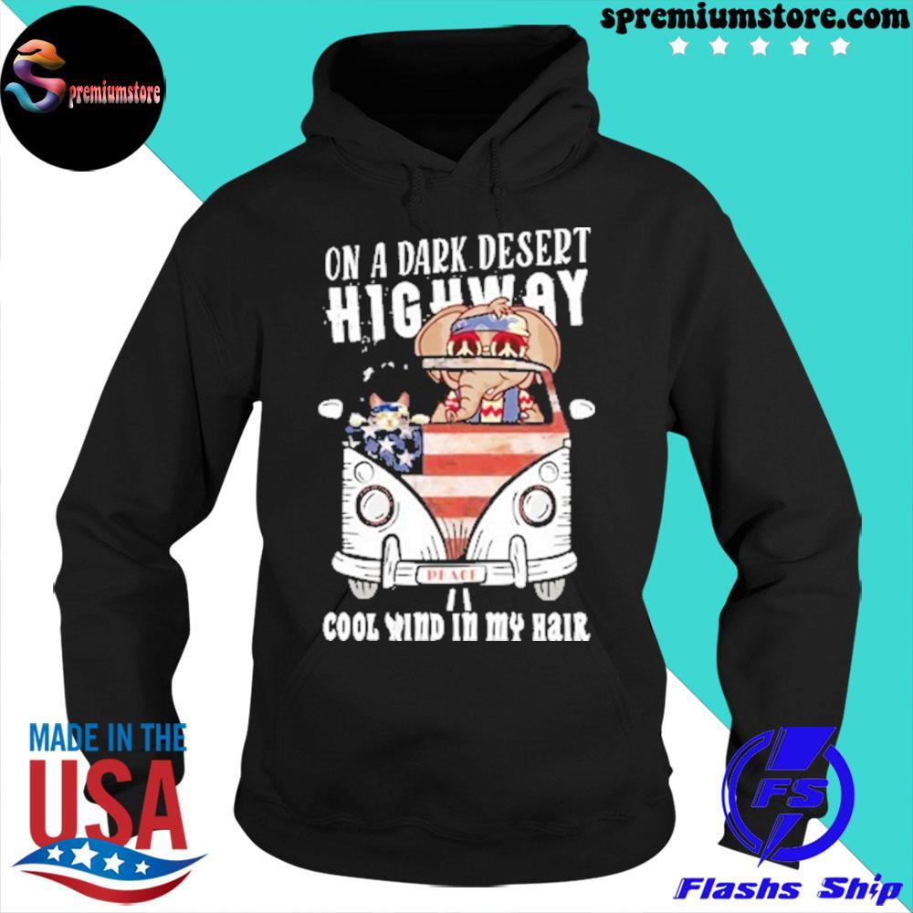 On a dark desert highway cool wind in my hair ugly Christmas sweater hoodie-black